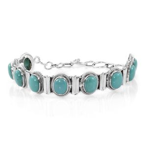 Artisan Crafted Sonoran Blue Turquoise Sterling Silver Bracelet (8.50 In) TGW 19.10 cts.
