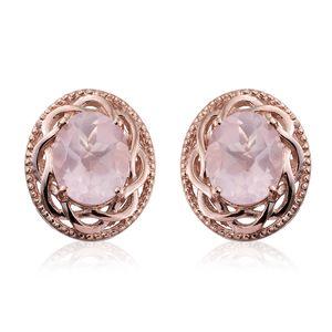 Galilea Rose Quartz 14K RG Over Sterling Silver Stud Earrings TGW 4.86 cts.