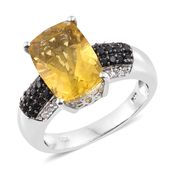 Canary Fluorite, Thai Black Spinel, Cambodian Zircon Platinum Over Sterling Silver Ring (Size 11.0) TGW 8.72 cts.