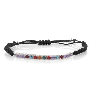 Sterling Silver Bracelet on Black Cord (Adjustable) Made with SWAROVSKI Multi Color Crystal