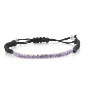 Sterling Silver Bracelet on Black Cord (Adjustable) Made with SWAROVSKI Lilac Crystal