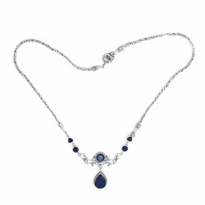 Bali Legacy Collection Enhanced Sapphire, Himalayan Kyanite Sterling Silver Necklace (18 in) TGW 23.42 cts.