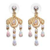 Australian White Opal 14K YG Over Sterling Silver Chandelier Earrings TGW 2.22 cts.