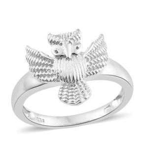 Platinum Over Sterling Silver Owl Ring (Size 7.0)