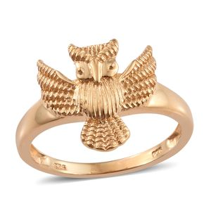 14K YG Over Sterling Silver Owl Ring (Size 7.0)