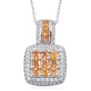 Orange Sapphire, White Zircon Sterling Silver Checkerboard Pendant With Chain (18 in) TGW 2.20 cts.