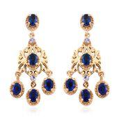 Blue Spinel, Tanzanite 14K YG Over Sterling Silver Chandelier Earrings TGW 2.32 cts.