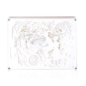 Yellow Light Papercut Light Box with Acrylic Cover and USB Cable (1mtr) (3xAAA Batteries Require) (Batteries Not Included)