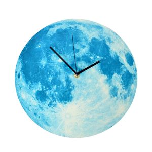 Blue and White Luminous Moon Wall Clock (11.8x11.8 in)