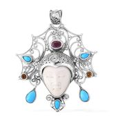 Bali Goddess Collection Carved Bone, Multi Gemstone Sterling Silver Pendant without Chain TGW 10.97 cts.