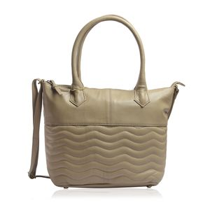 Sand Genuine Leather RFID Wave Quilted Pattern Tote Bag with Standing Studs (16x11.25x4.5 in)