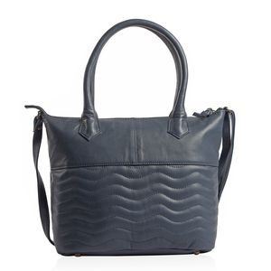 Navy Blue Genuine Leather RFID Wave Quilted Pattern Tote Bag with Standing Studs (16x11.25x4.5 in)