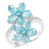 Madagascar Paraiba Apatite, White Zircon Sterling Silver Bypass Floral Ring (Size 7.0) TGW 4.69 cts.
