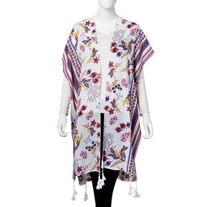 Multi Color Floral Pattern 100% Viscose Kimono (28.35x39.37 in)