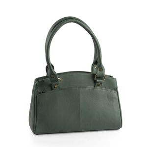 Teal Green Genuine Leather RFID Multiple Compartment Shoulder Bag (13x4x9.25 in)