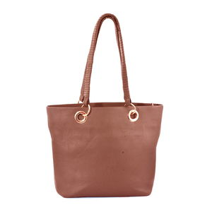 Blush Brown Genuine Leather RFID Tote Bag (15.7x4.25x11.7 in)