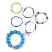 Blue Howlite, Resin, Glass Goldtone & Iron Set of 6 Bracelet (6, 6.50, 7In) TGW 562.30 cts.