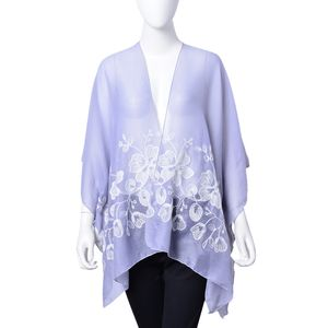 Slate Blue 100% Polyester Floral Embroidered Kimono (One Size)