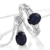 Kanchanaburi Blue Sapphire, White Topaz Platinum Over Sterling Silver Ring (Size 7) and Pendant With Chain (20 in) TGW 3.35 cts.