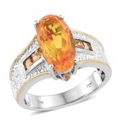 Sphaleros Quartz, Brazilian Citrine Platinum Over Sterling Silver Ring (Size 9.0) TGW 6.15 cts.