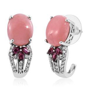 Peruvian Pink Opal, Orissa Rhodolite Garnet, Cambodian Zircon Platinum Over Sterling Silver J-Hoop Earrings TGW 7.94 cts.