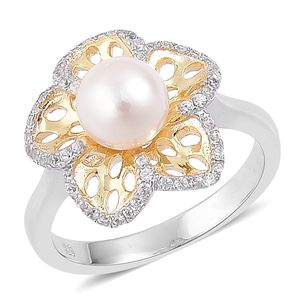 Japanese Akoya Pearl (7.5-8 mm), White Zircon 14K YG and Platinum Over Sterling Silver Pierced Floral Ring (Size 10.0) TGW 0.40 cts.