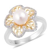 Japanese Akoya Pearl (7.5-8 mm), White Zircon 14K YG and Platinum Over Sterling Silver Pierced Floral Ring (Size 5.0) TGW 0.40 cts.