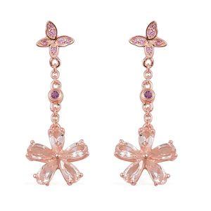 Marropino Morganite, Madagascar Pink Sapphire, Amethyst 14K RG Over Sterling Silver Flower Drop Earrings TGW 2.72 cts.
