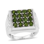 Russian Diopside Platinum Over Sterling Silver Checkerboard Men's Ring (Size 12.0) TGW 4.60 cts.