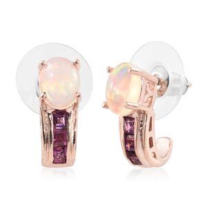 Ethiopian Welo Opal, Purple Garnet Vermeil RG Over Sterling Silver J-Hoop Earrings TGW 2.30 cts.