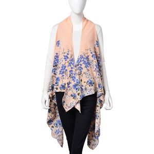 Peach 100% Polyester Blue and Taupe Floral Pattern Sleeveless Waterfall Kimono (One Size)