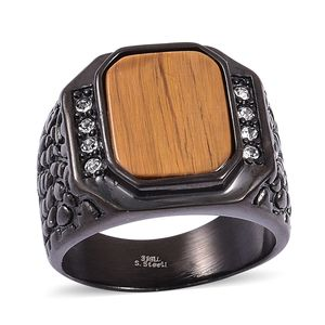 South African Tigers Eye, White Austrian Crystal ION Plated Black Stainless Steel Men's Signet Ring (Size 11.0) TGW 5.08 cts.