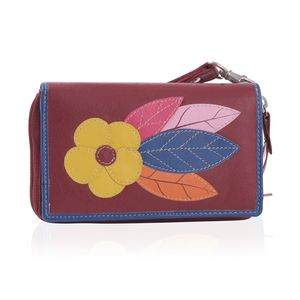 Red 100% Genuine Leather RFID Flower Applique Wallet (6.25x1x4 in)