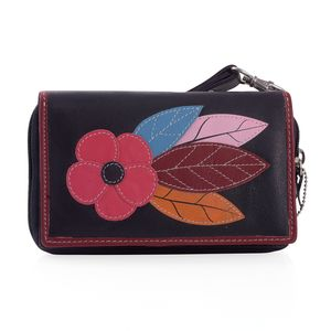 Plum 100% Genuine Leather RFID Flower Applique Wallet (6.25x1x4 in)
