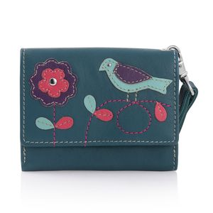 Teal 100% Genuine Leather RFID Bird Applique Wallet (4.75x1x4 in)