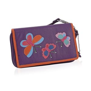 Plum 100% Genuine Leather RFID Butterfly Applique Wallet (6.25x1x4 in)
