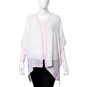 White and Pastel Pink 100% Viscose Santa Fe Pattern Kimono with Lace Lining (One Size)