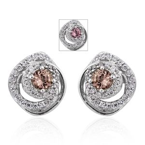 Merelani Color Change Garnet, Cambodian Zircon Platinum Over Sterling Silver Earrings TGW 1.15 cts.