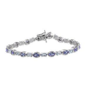 Tanzanite, Espirito Santo Aquamarine Platinum Over Sterling Silver Bracelet (7.75 In) TGW 6.40 cts.
