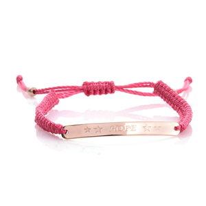 14K RG Over Sterling Silver Hope Bracelet on Pink Cord (Adjustable)