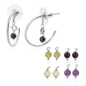 Multi Gemstone Stainless Steel Earrings TGW 6.56 cts.