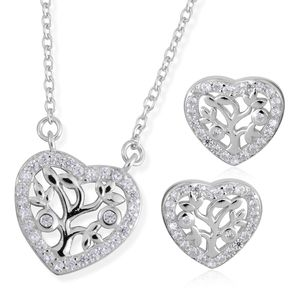 Simulated Diamond Sterling Silver Heart Tree Earrings and Pendant With Chain (18 in) TGW 0.37 cts.