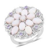 Australian White Opal, Tanzanite Sterling Silver Floral Heart Ring (Size 10.0) TGW 3.60 cts.