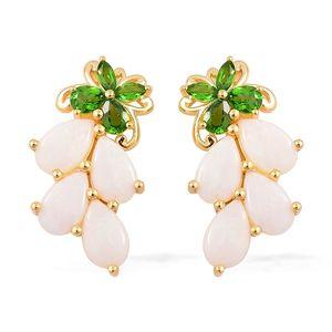 Australian White Opal, Russian Diopside 14K YG Over Sterling Silver Earrings TGW 4.75 cts.