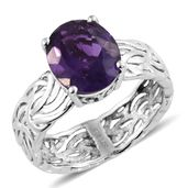 Lusaka Amethyst Platinum Over Sterling Silver Ring (Size 5.0) TGW 4.30 cts.