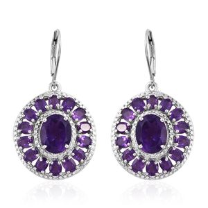 Amethyst, Cambodian Zircon Platinum Over Sterling Silver Lever Back Earrings TGW 9.42 cts.