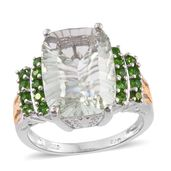 Green Amethyst, Russian Diopside 14K YG and Platinum Over Sterling Silver Ring (Size 8.0) 0 TGW 9.36 cts.