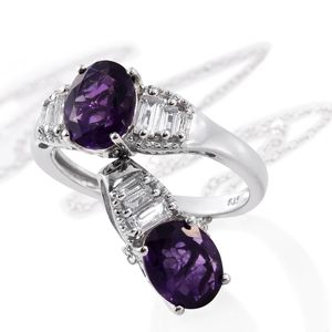 Lusaka Amethyst, White Topaz Platinum Over Sterling Silver Ring (Size 9) and Pendant With Chain (20 in) TGW 4.32 cts.
