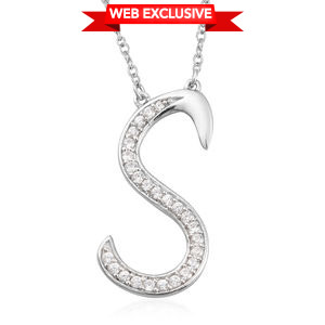 Initial S Necklace Featuring Cambodian White Zircon in Platinum Over Sterling Silver (20 in) TGW 0.48 cts.