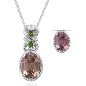 Merelani Color Change Garnet, Russian Diopside Platinum Over Sterling Silver Pendant With Chain (20 in) TGW 1.80 cts.
